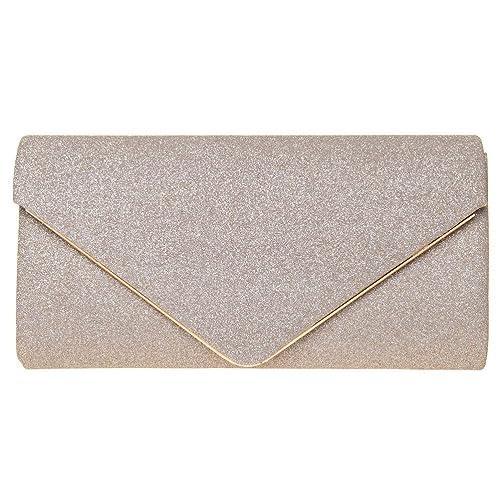 89e27b939 FASHIONROAD Evening Clutch, Womens Shining Envelope Clutch Purses, Handbag  for Wedding & Party Gold