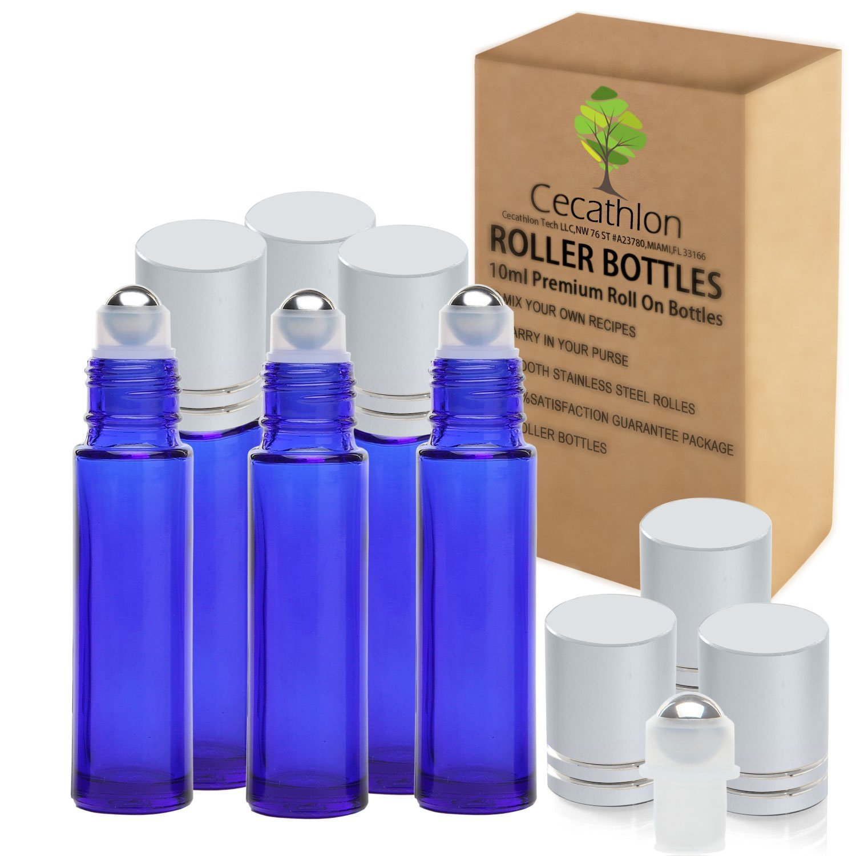 cecathlon aromaterapia aceites esenciales Roller Botellas de cristal vacío con eBook de recetas, 6-pack: Amazon.es: Hogar