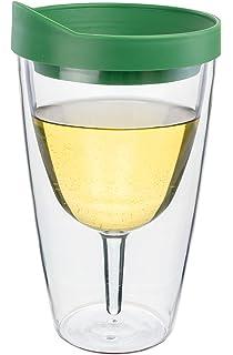 Vino2Go Double Wall Insulated Acrylic Wine /& Beer Tumbler w// Yellow Lid 2 Pack