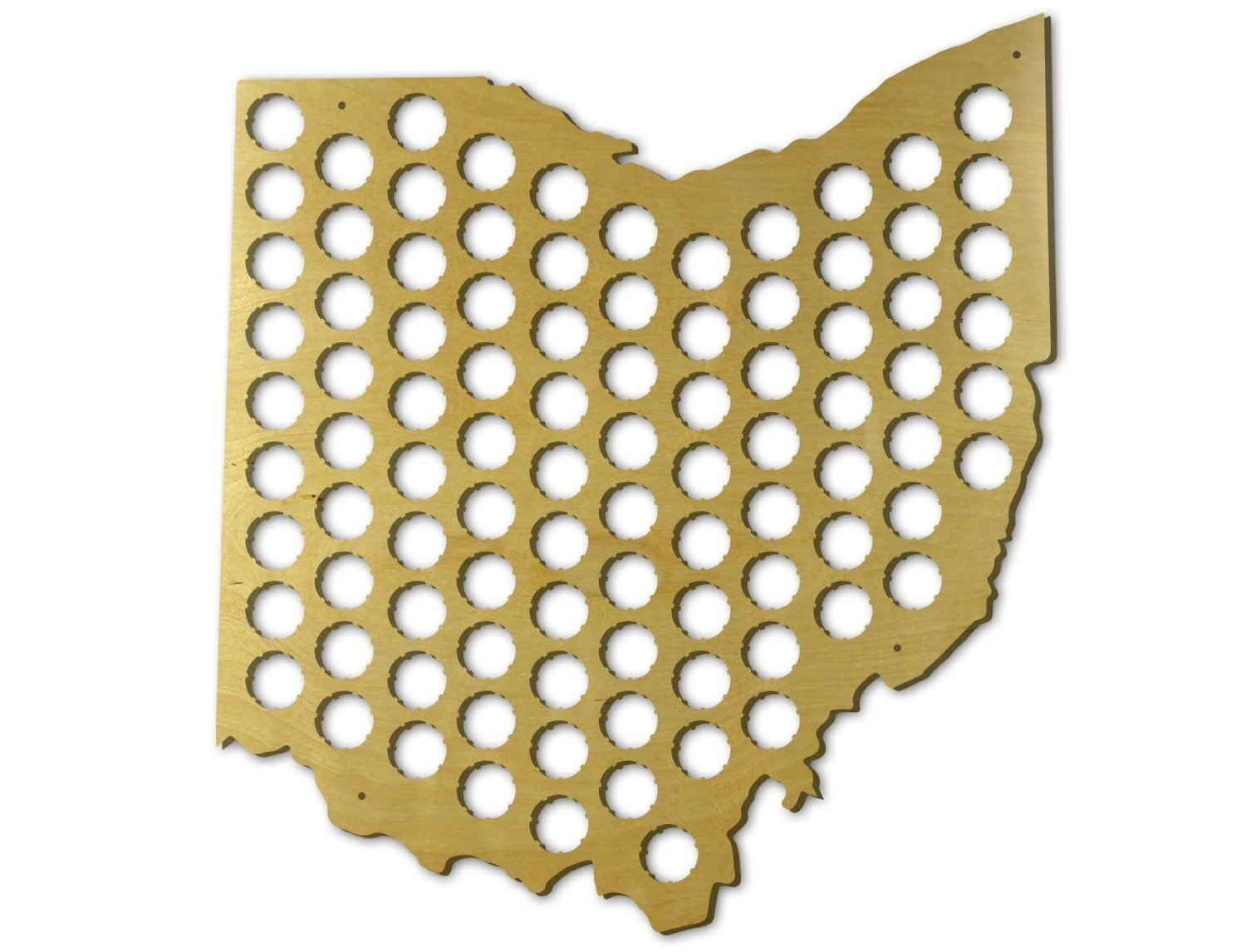 Amazon.com: Beer Cap Trap Ohio Beer Cap Map Wall Art, Tan: Kitchen ...