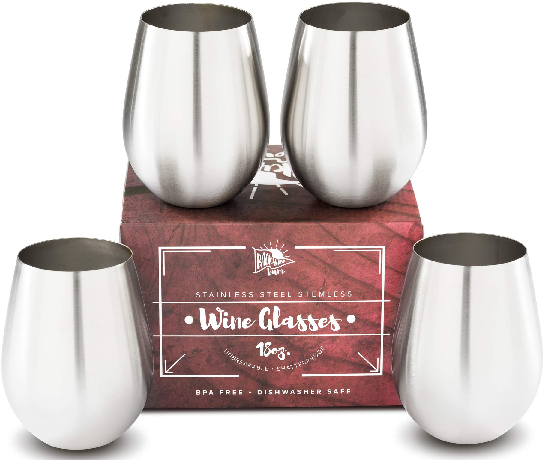 Premium Solid Stainless Steel Wine Glasses PLUS Recipe eBook   Stemless Wine Glass Set of 4, for Men and Women   Large 18 Ounce by Backyard Bum   Unbreakable and Tip Resistant for Perfect Entertaining