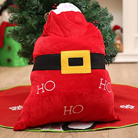 kosbon christmas gift bagssanta claus belt pattern sack big christmas present bags large pocket