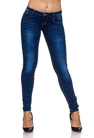 c3f4d65bc3f3 Damen Jeans Skinny Fit Stretch Hüfthose Stone Washed Dunkel D2078,  Farben Blau, Größe