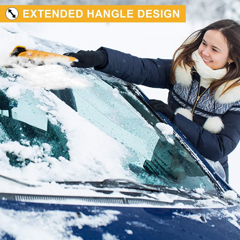 FREESOO Raspador de Nieve 2 en 1 Limpiador de Ventanas Mango Telesc/ópico Cepillo Escoba Pala de Nieve Herramienta Asistente de Limpieza de Parabrisas para Coche con Toalla y Bolsa de Almacenamiento