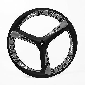 VCYCLE Nopea 700c 3 Radios Ruedas de Carbono 66mm para Cubierta 23mm Anchura Bicicleta de Carretera Soltero Frontal Rueda: Amazon.es: Deportes y aire libre