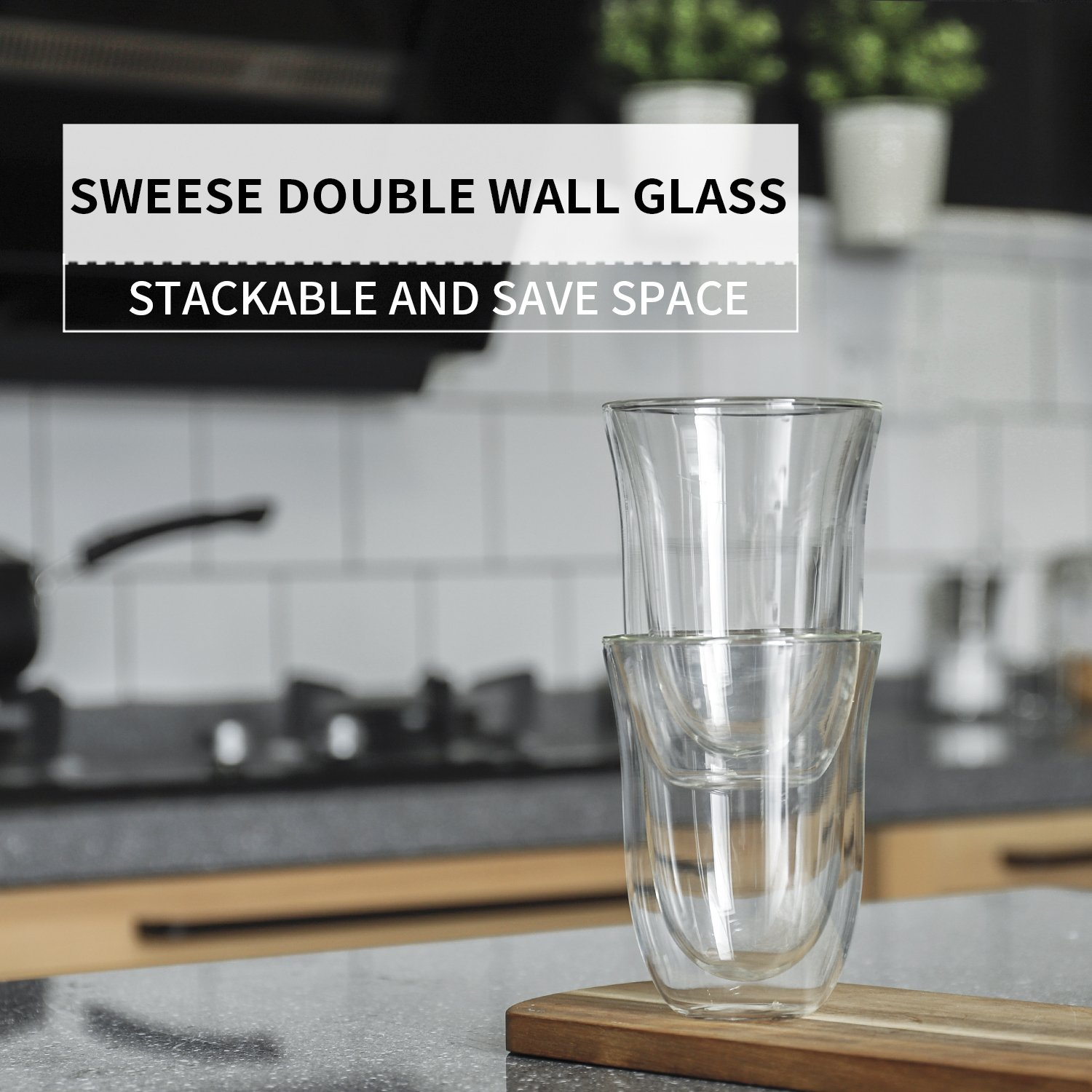 Sweese 4606 Glass Coffee Mugs - 8 Ounces, Double Wall Insulated Borosilicate Glasses , Espresso Cups Suitable for Cappuccino, Latte, Cream, Tea, Kinds of Beverage, Set of 2 by Sweese (Image #2)