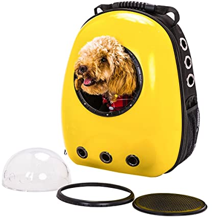 cb70ec0ab2c3 Image Unavailable. Image not available for. Color  Kunfort Astronaut Dog  Space Cat Pet Puppy Capsule Breathable Backpack Carrier Travel Bag(Yellow)