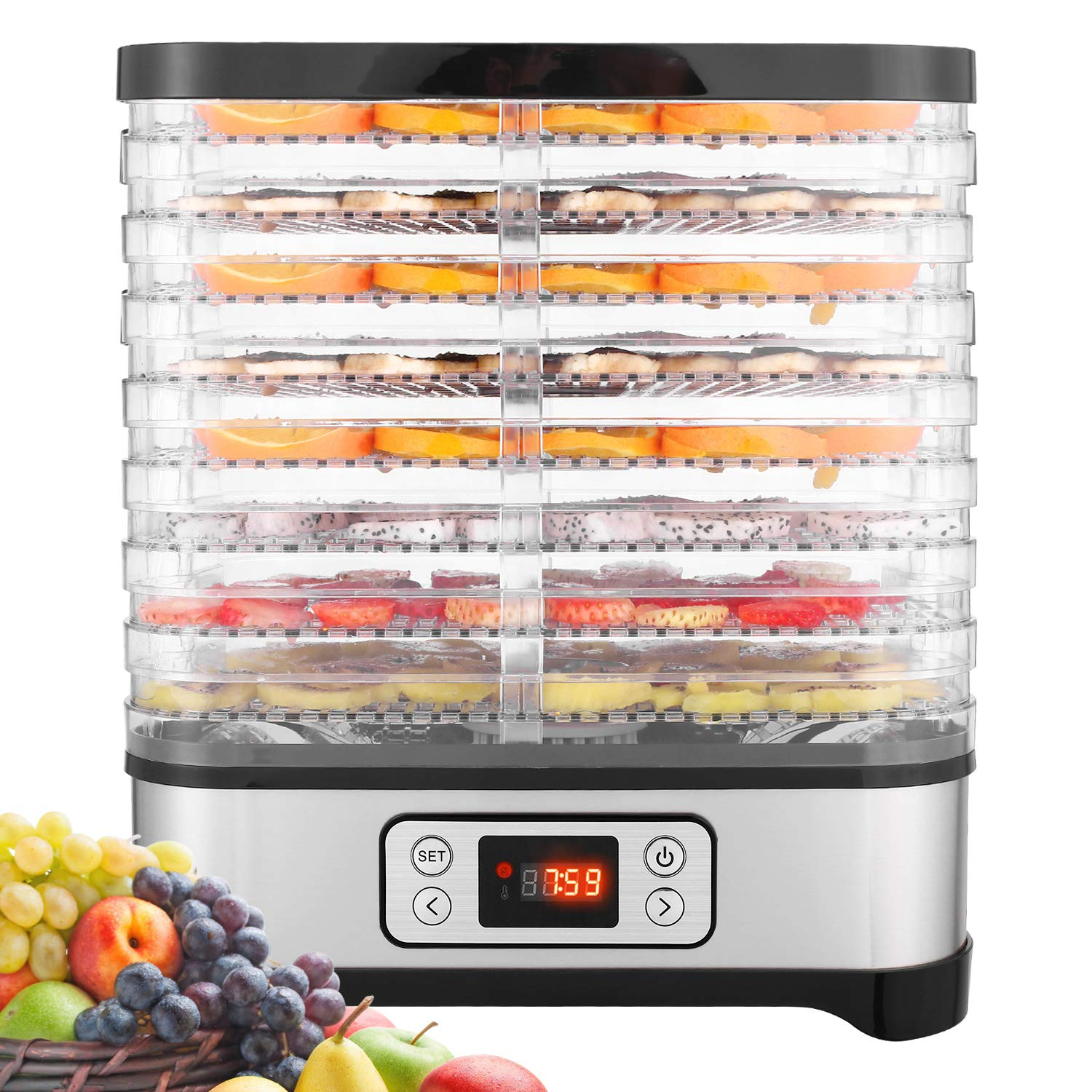 Electric Food Dehydrator Machine for Jerky, Fruits, Vegetables, Herbs with 8 Trays, Digital Timer, Temperature Control 400 Watt