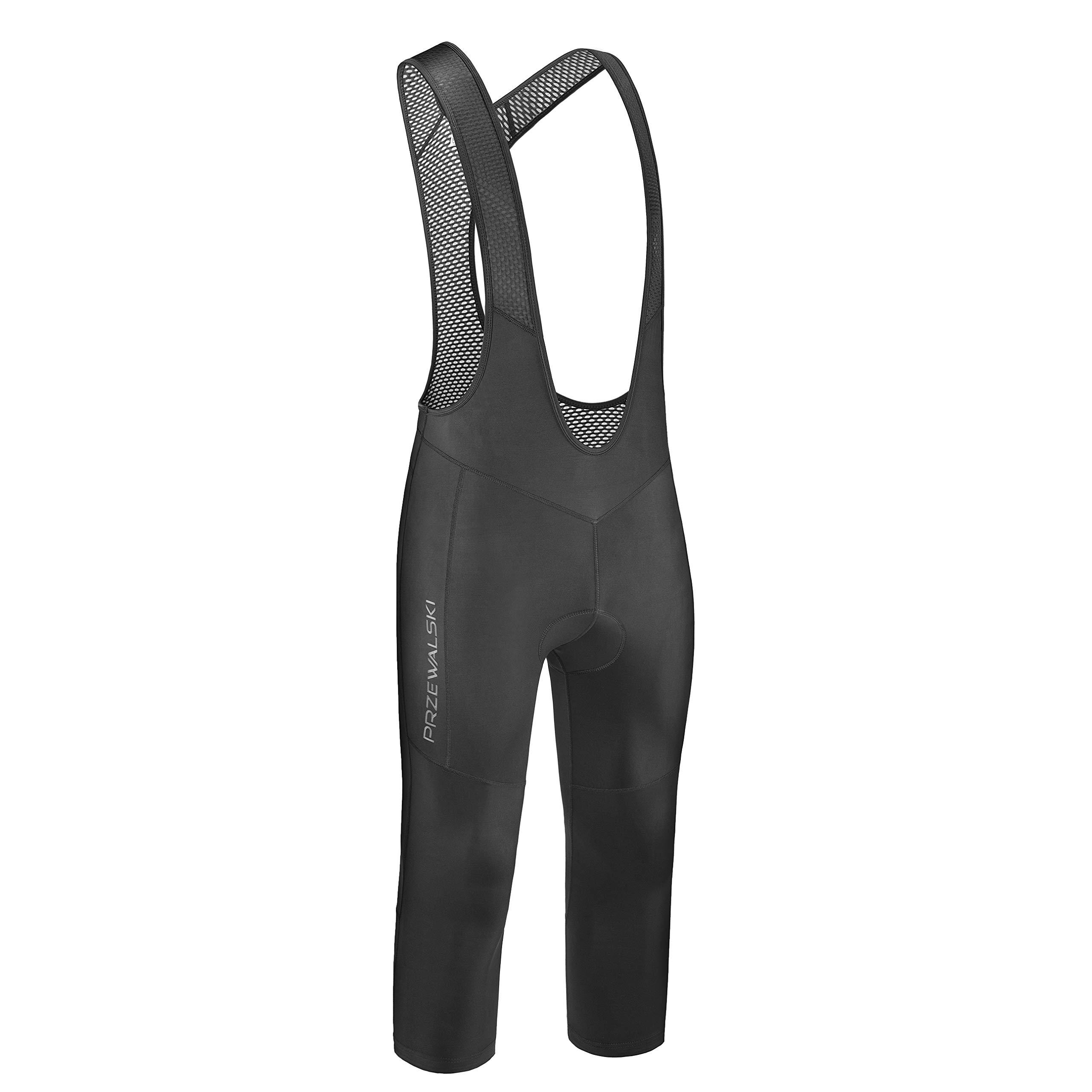 Przewalski Men's 3/4 Capris Cycling Bib Shorts, 4D Padded Compression Bike Tights Pants, Classic Series, Black/XL