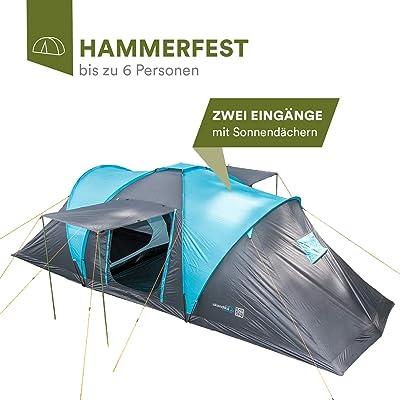 Skandika Hammerfest - Tienda de campaña para 6 Personas (con 2 toldos, con o sin Suelo Cosido)