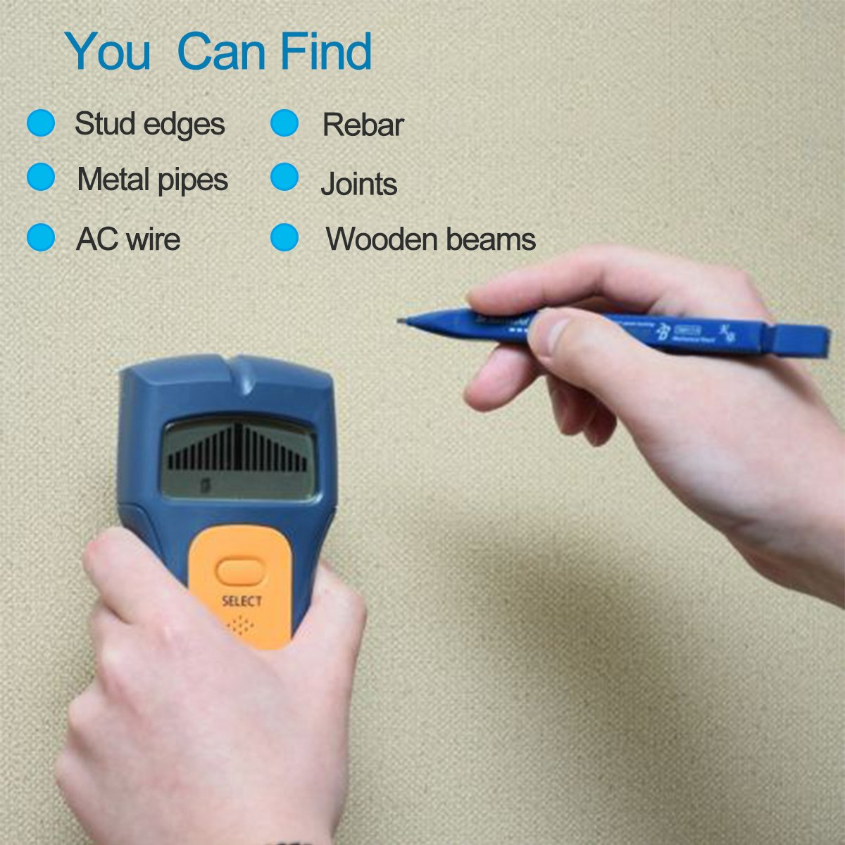 Mochiglory 3 in 1 Stud Finder Stud Sensor Digital Multi-Scanner for Wall Studs Metal Detection and AC Live Wire by Mochiglory (Image #6)