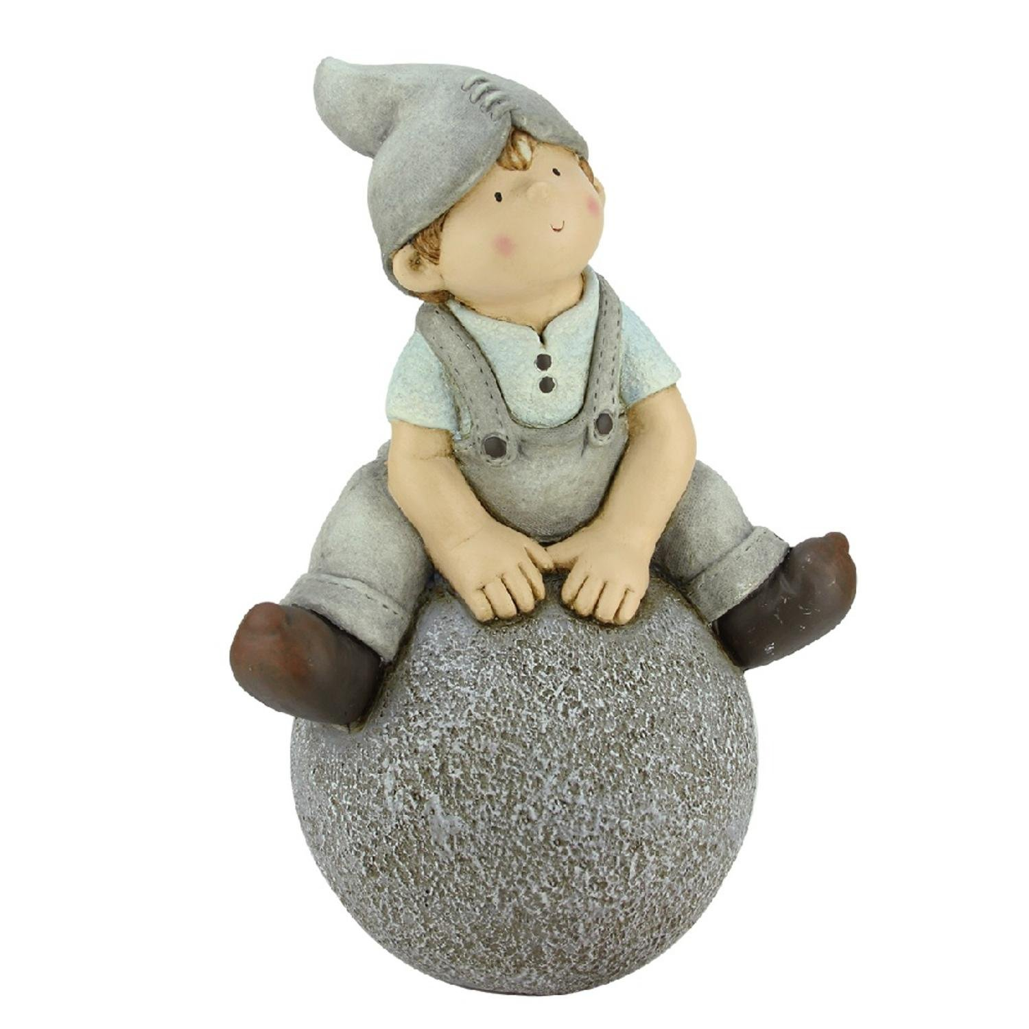Northlight CB64981 Young Boy Gnome Sitting on Ball Spring Outdoor Garden Patio Figure Statuary and Fountains, 16'', Gray
