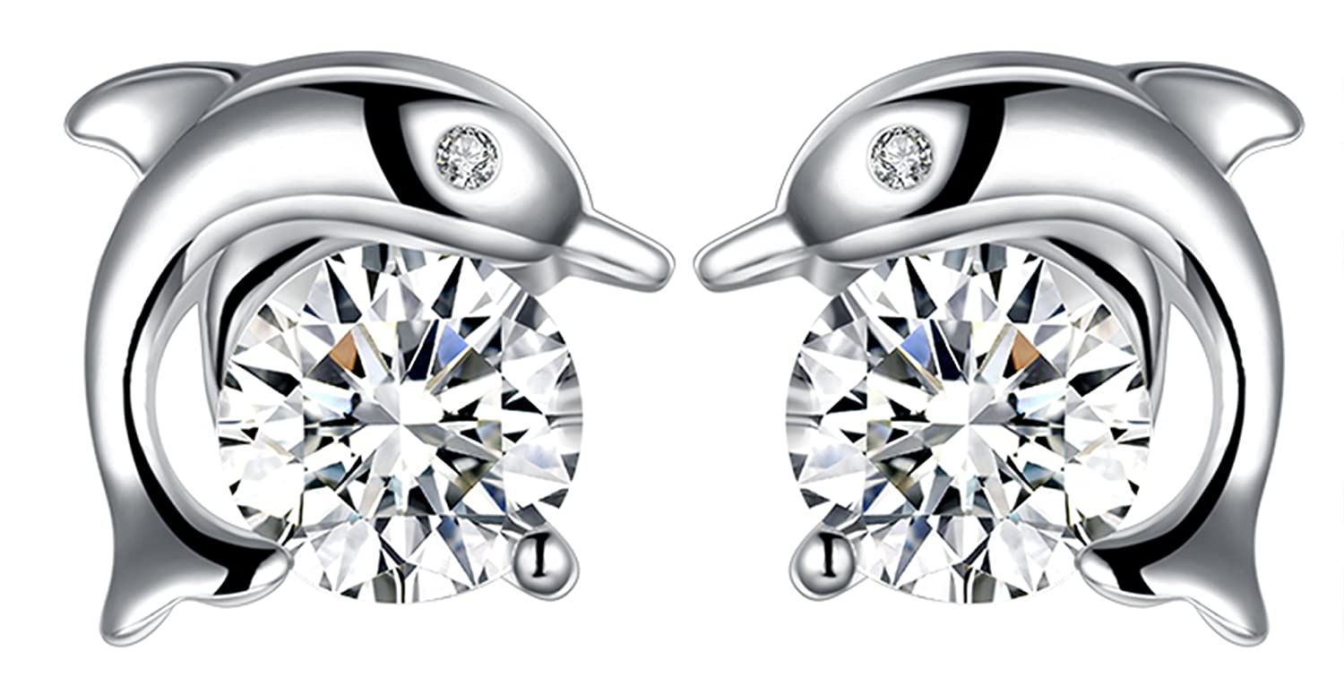 Goldenchen Fashion 925 Sterling Silver Inlay Cubic Zirconia Dolphin Stud Earrings for Women and Girls LKNSPCE943