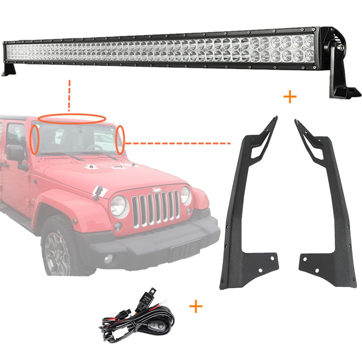 Fit Jeep Wrangler JK 2007-2017 Offroad Light Bar Kit, POWLAB 52' inch 6000K White Flood Spot Combo Beam 300W Waterproof Dustproof Shockproof Driving Light + Windshield Mount Bracket + Wiring Harness