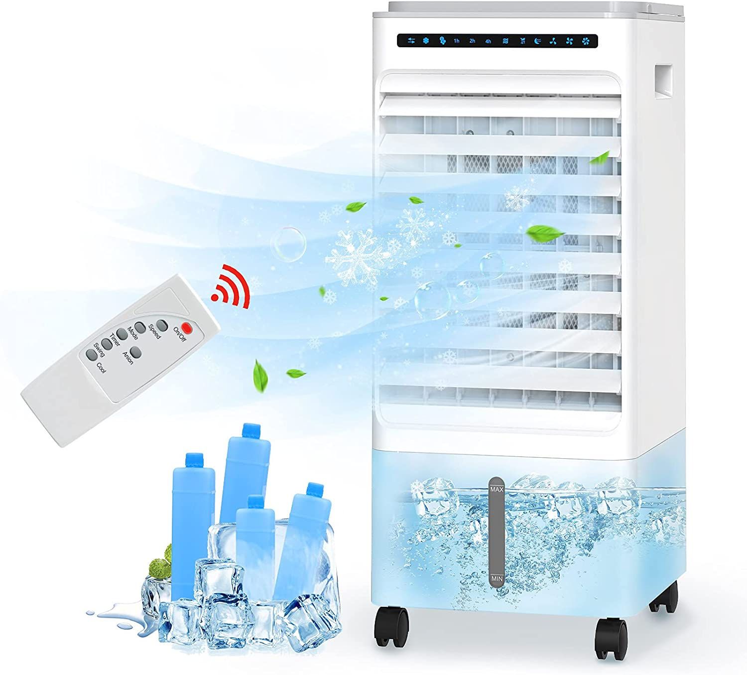 HAUEA Portable Air Conditioner 3-IN-1 Evaporative Air Cooler/ Cooling /Humification Portable Cooling Fan with 3 Speeds,90°Oscillation,7H Timer Remote Control & LED Display for Room Home Office