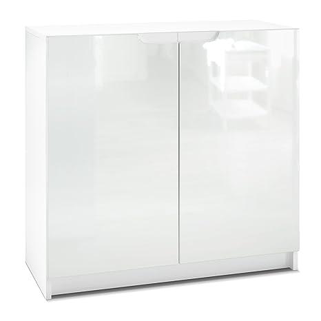 Aktenschrank weiß hochglanz  Vladon Kommode Büroschrank Aktenschrank Büromöbel Logan, Korpus in Weiß  matt/Fronten in Weiß Hochglanz