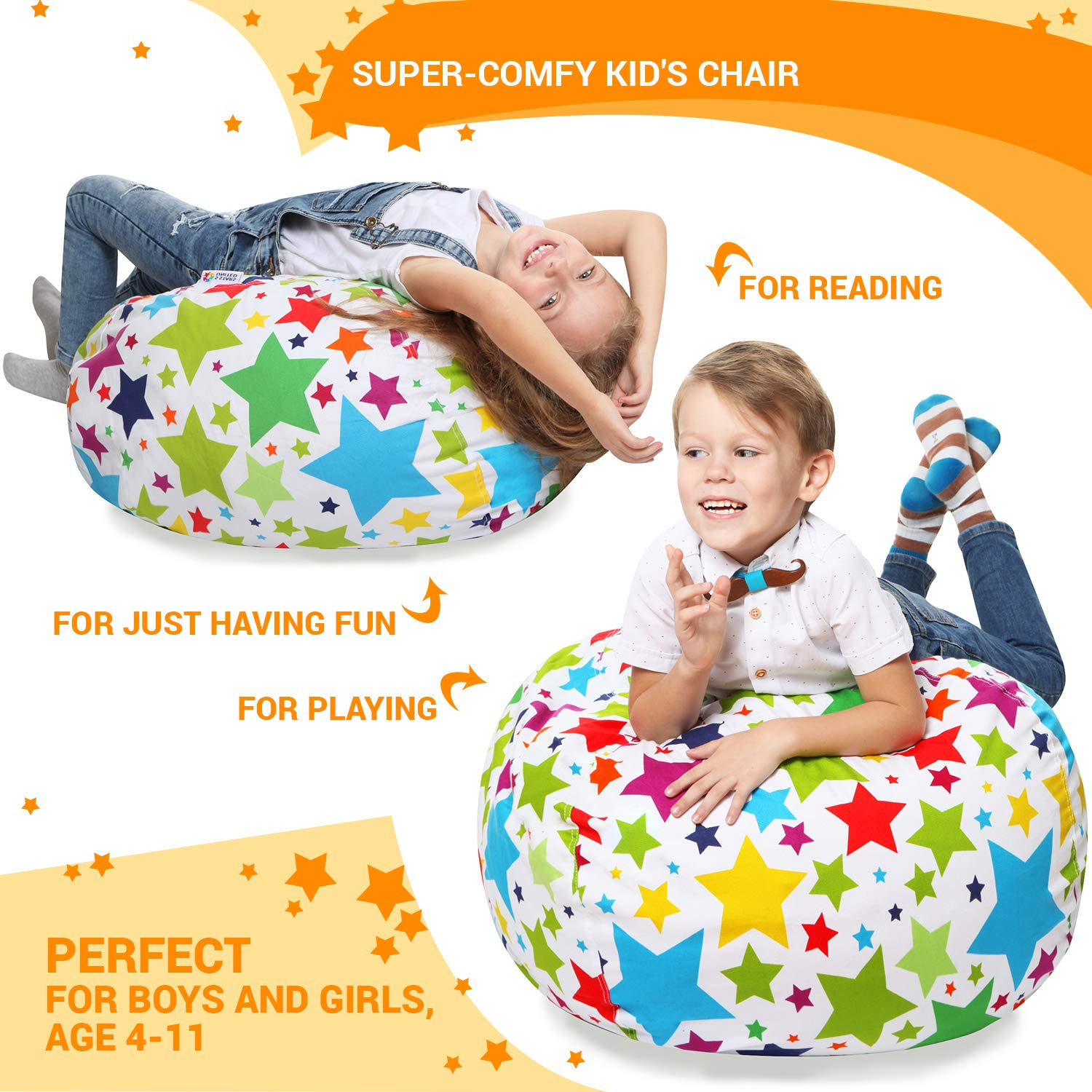 Stuffed Animal Storage Bean Bag - Cover Only - Large Beanbag Chairs for Kids - 90+ Plush Toys Holder and Organizer for Boys and Girls - 100% Cotton Canvas - Holiday Stars by 5 STARS UNITED (Image #5)
