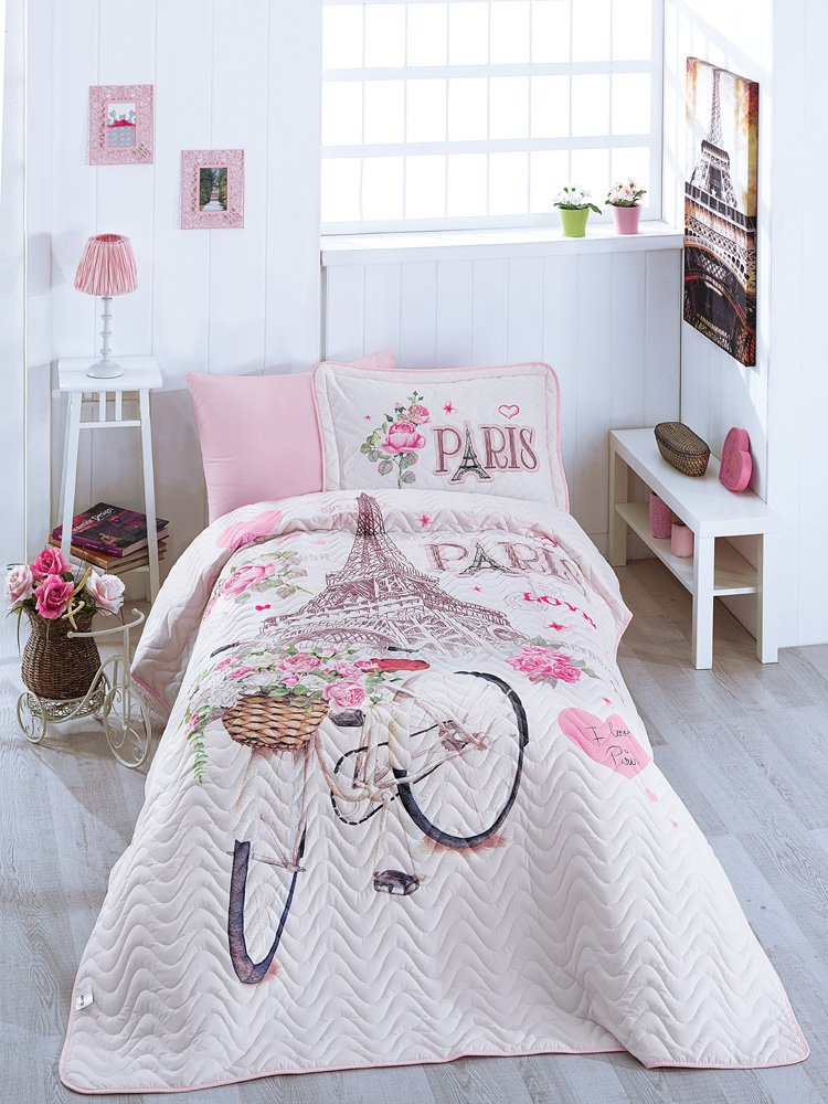 Bekata Paris Love, 100% Cotton Bed Cover Set, Single/Twin Size Bedspread/Quilt Set for All Season, Paris Bedding Linens Eiffel Tower Themed, Fitted Sheet Included, 4 PCS, Pink