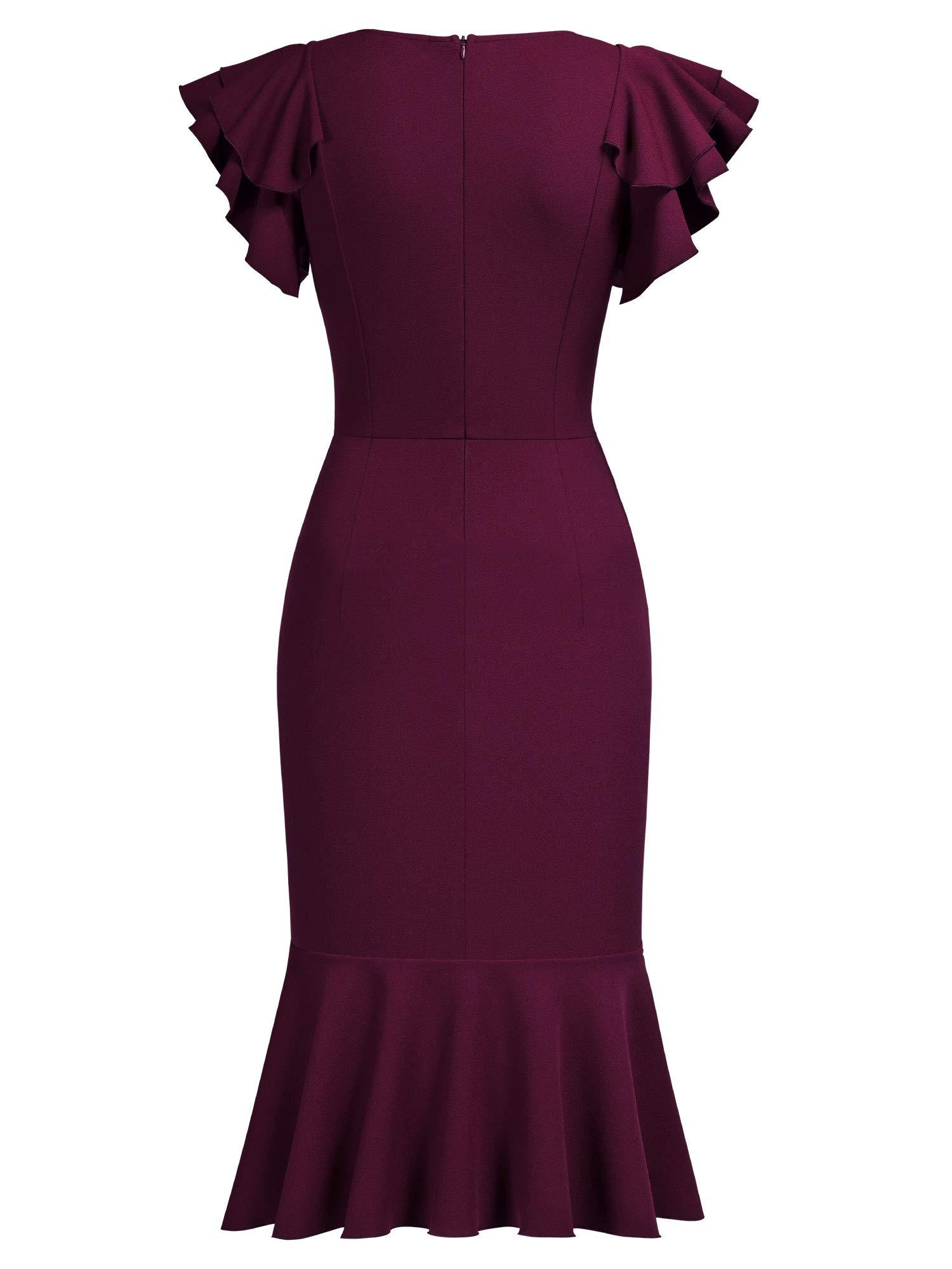 Knitee Womens Vintage Off Shoulder V-Neck Evening Party Cocktail Ruffles Slit Formal Dress