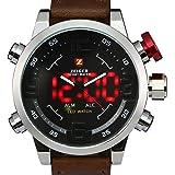 Zeiger Montre Homme Quartz - Digital Aiguilles LED Rouge - Date Jour Alarm Chronograph - Cuir Brun - Chiffre Jaune/Rouge