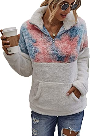 Sudadera con Cremallera de Invierno para Mujer Sudaderas Mujer Cremallera sin Capucha Patchwork Cuello Alto Blusa Casual de Manga Larga Pullover Jersey