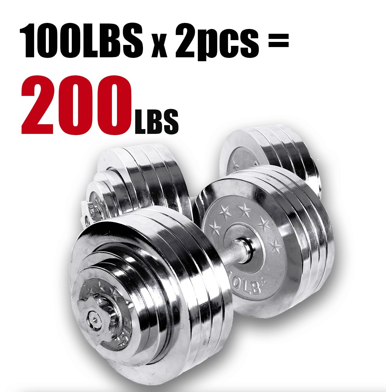 Ringstar Starring 105-200 Lbs adjustable dumbbells (200 LBS Silver)