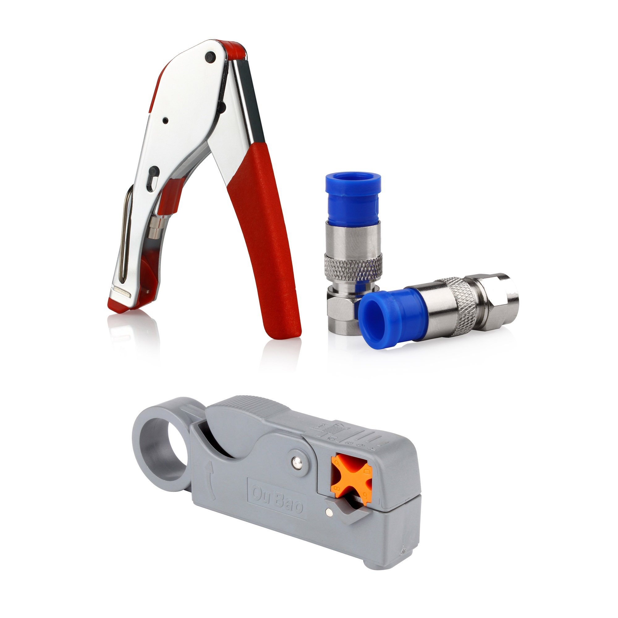 Klix Compression for Connector Tool Cable Stripper RG6 Fitting -Red by Klix (Image #3)