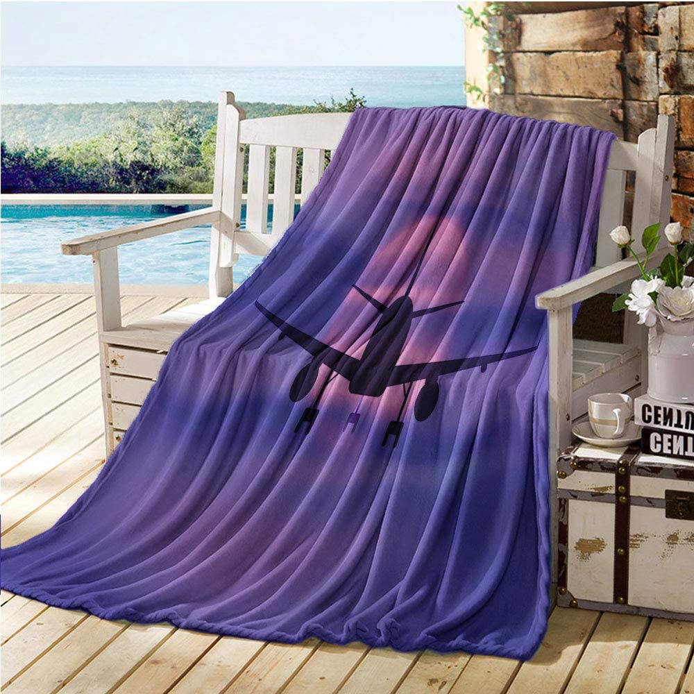 """Mademai Airplane Throw Blankets,Plane Silhouette in Dreamy Sunset Sky Vacation Holiday Travel Theme,Cool Weighted Blanket Royal Blue Pink Black 70""""x80"""""""