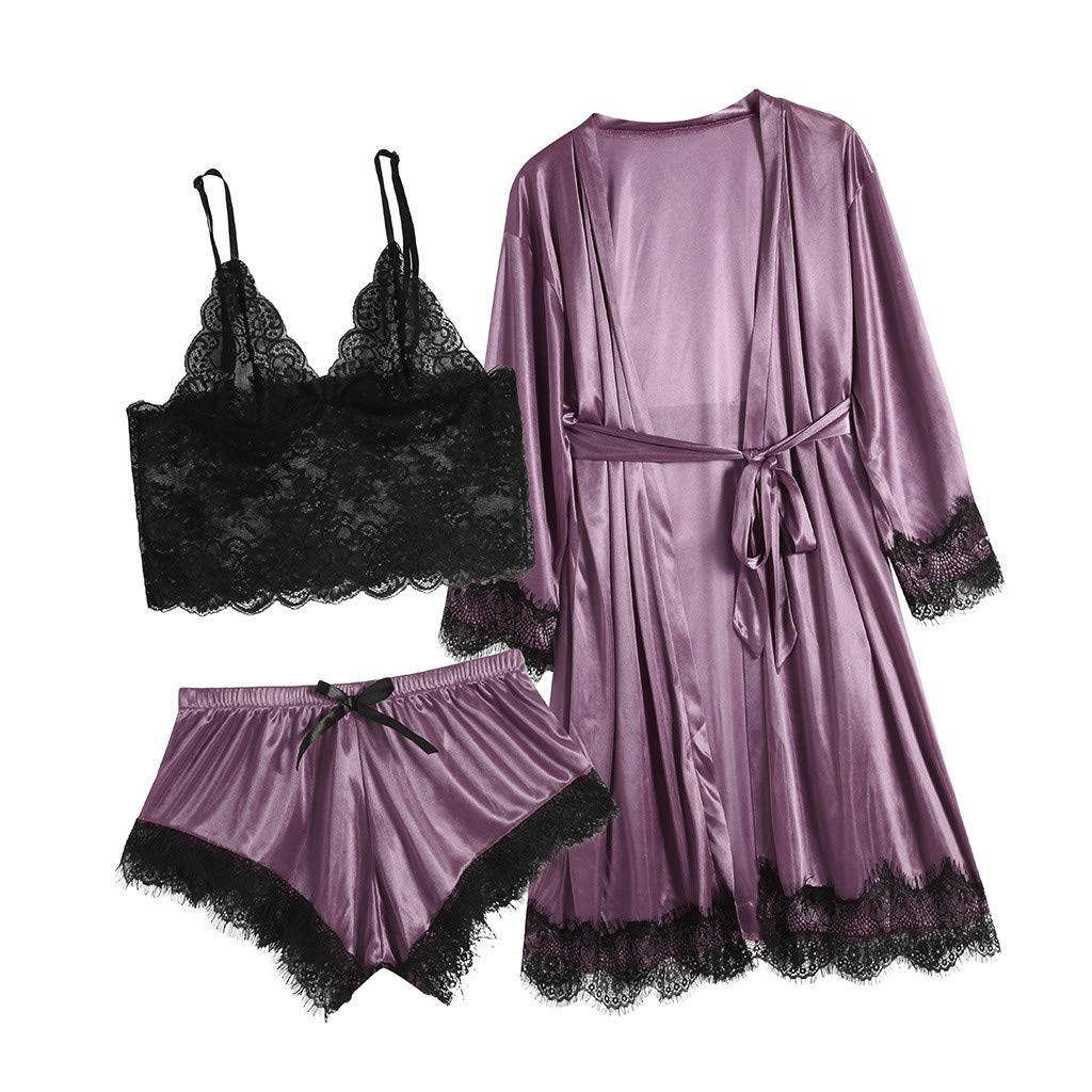 3pc Women's Exotic Chemises Negligees, Camisole Shorts Set Sexy Cami Tops + Lace Bra + Satin Shorts Pajama Sets