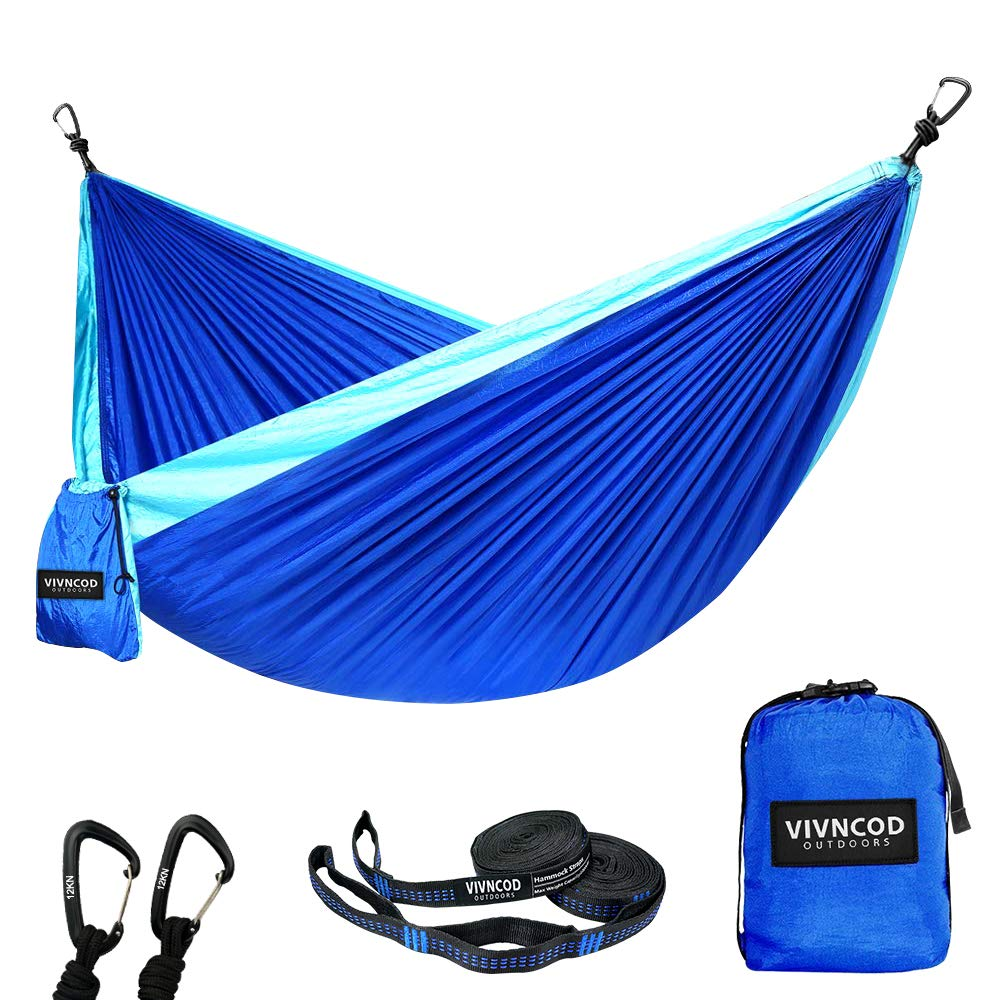 VIVNCOD Single & Double Camping Hammock with Tree Straps, Lightweight Parachute Nylon Hammock, Portable Indoor Outdoor Hammocks for Hiking, Camping, Backpacking, Travel, Yard, Beach by VIVNCOD