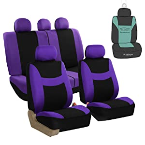 FH Group FB030115 Light & Breezy Flat Cloth Full Set Car Seat Covers Set, Airbag & Split Ready w. Gift, Purple/Black- Fit Most Car, Truck, SUV, or Van