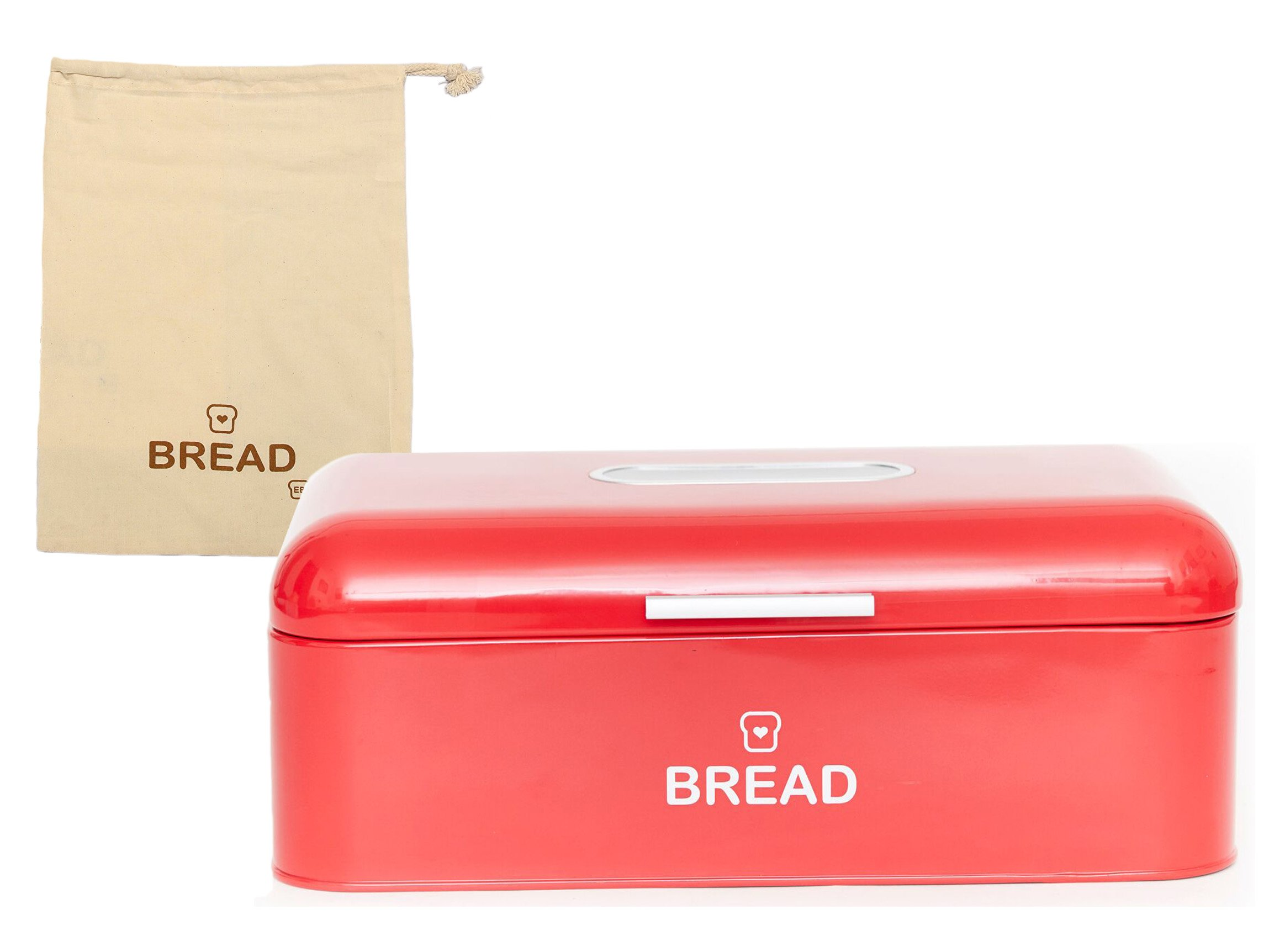 Vintage Bread Box For Kitchen Stainless Steel Metal 16.5'' x 9'' x 6.5'' with viewing window + FREE Bread Bag; Large Bread, Loaves, Pasgtires Bin storage (Red)