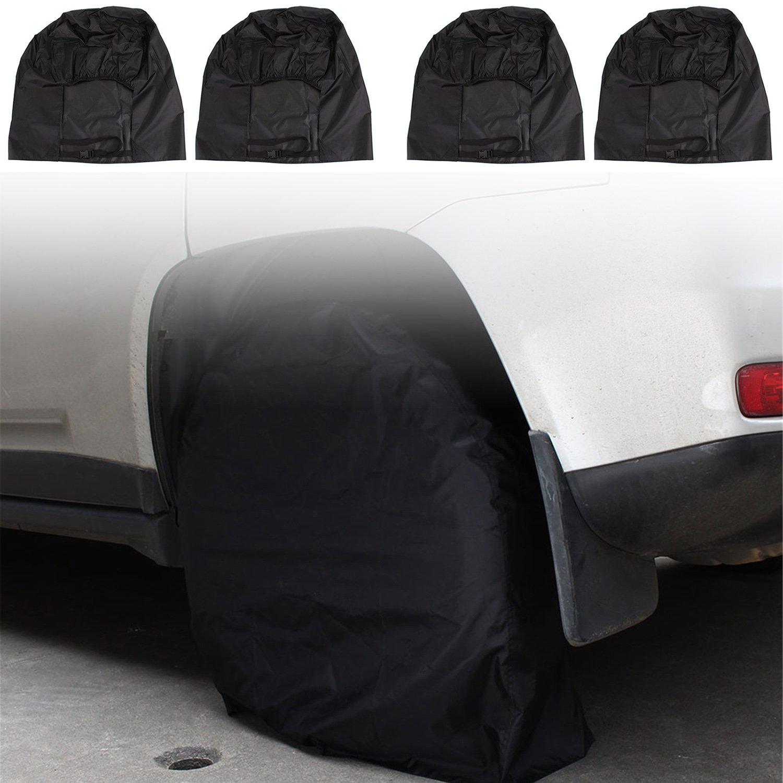 Juego de 4 cubiertas para neumáticos, protegen contra los rayos solares, resistentes, impermeables, de tela Oxford, para neumáticos con diámetro de 27 a 30 pulgadas; apto para automóviles, camiones, caravanas a remolque y autoca