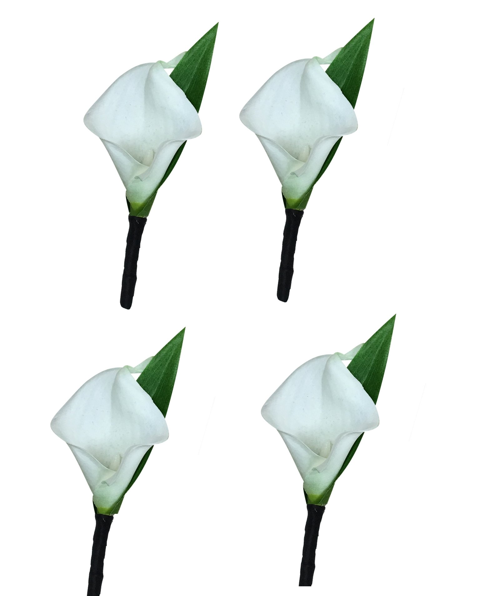 Set of 4-Real Touch Ivory (Off White) keepsake calla lily boutonniere by Angel Isabella