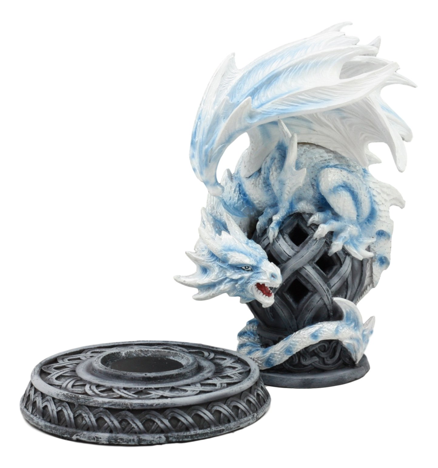 Ebros Guardian of Celtic Tomb White Icycle Dragon Backflow Cone Incense Holder Statue 8.5''Tall Fantasy Icelandic Dragon LED Tea Light Candle Holder Figurine by Ebros Gift (Image #7)