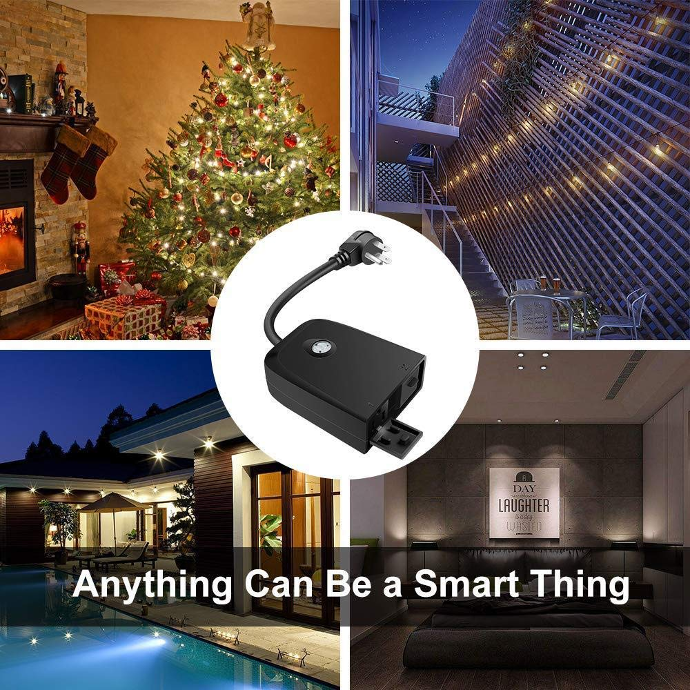 Outdoor WiFi Smart Plug Switch - Pemsem IP55 Weatherproof 2 Individual Sockets Compatible with Amazon Alexa, Google Home, IFTTT, Wireless Remote Control/Timer, Energy Monitor, No Hub Reqired