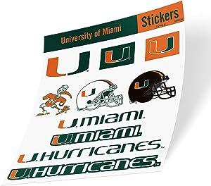 University of Miami NCAA Sticker Vinyl Decal Laptop Water Bottle Car Scrapbook (Type 2 Sheet)