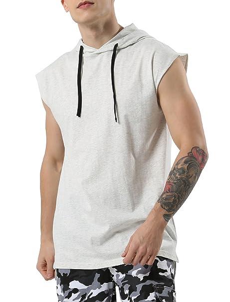 4773ba05f51b uxcell Men Workout Pullover Sweatshirt Hooded Shirt Tank Top Sleeveless  Hoodie Small Light Gray