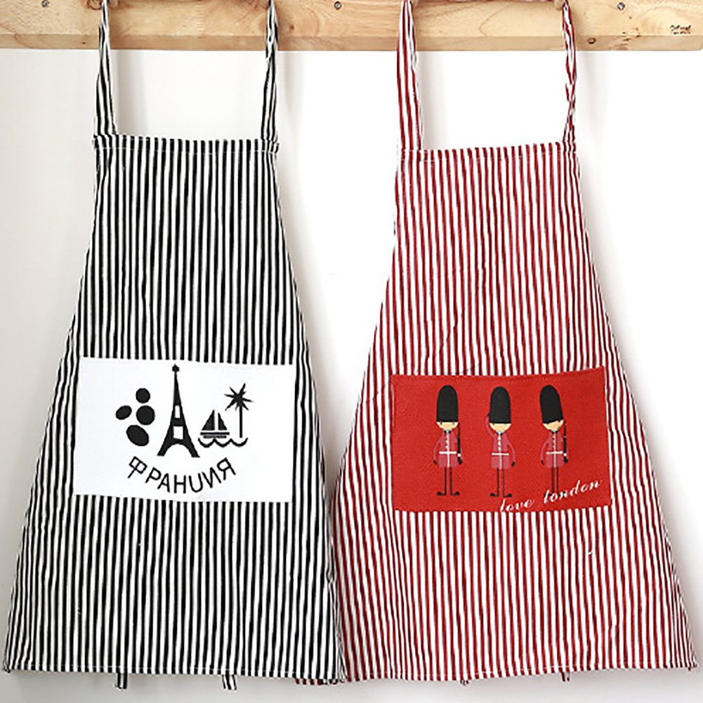 red preliked Fashion Chef Aprons Professional Kitchen Chef Works Stripe Bib Apron with Pocket size Bus#