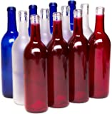 North Mountain Supply 750ml Red White & Blue Assortment Glass Bordeaux Wine Bottle Flat-Bottomed Cork Finish - Case of…