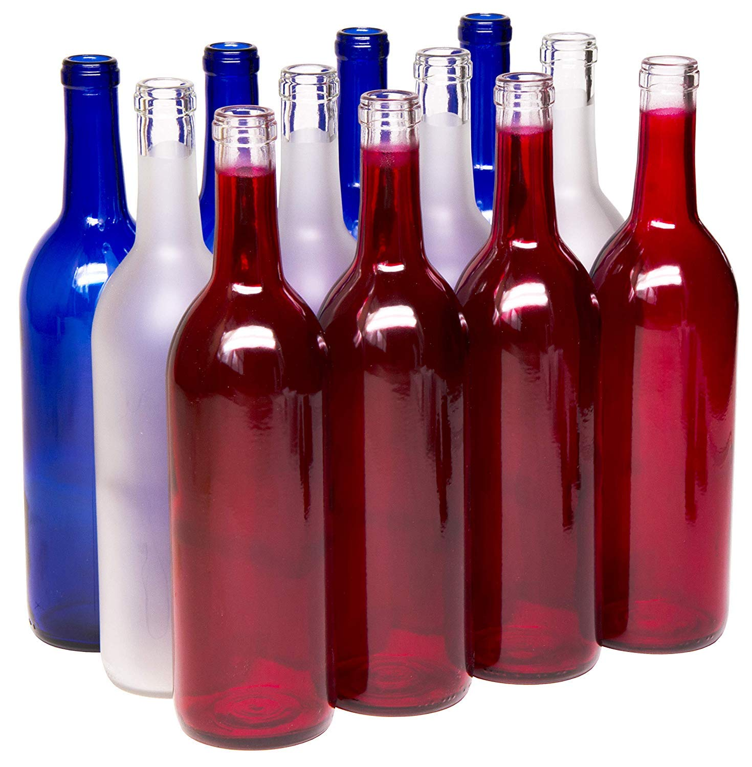 North Mountain Supply 750ml Red White & Blue Assortment Glass Bordeaux Wine Bottle Flat-Bottomed Cork Finish - Case of 12 by North Mountain Supply