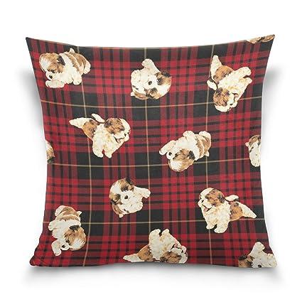 Textiles del hogar Accesorios de cama ALAZA Cuadros Cuadros de la Guinga Plaza Almohadilla de Tiro de la Caja del Terciopelo de algodón Cojín 16x16 Pulgadas