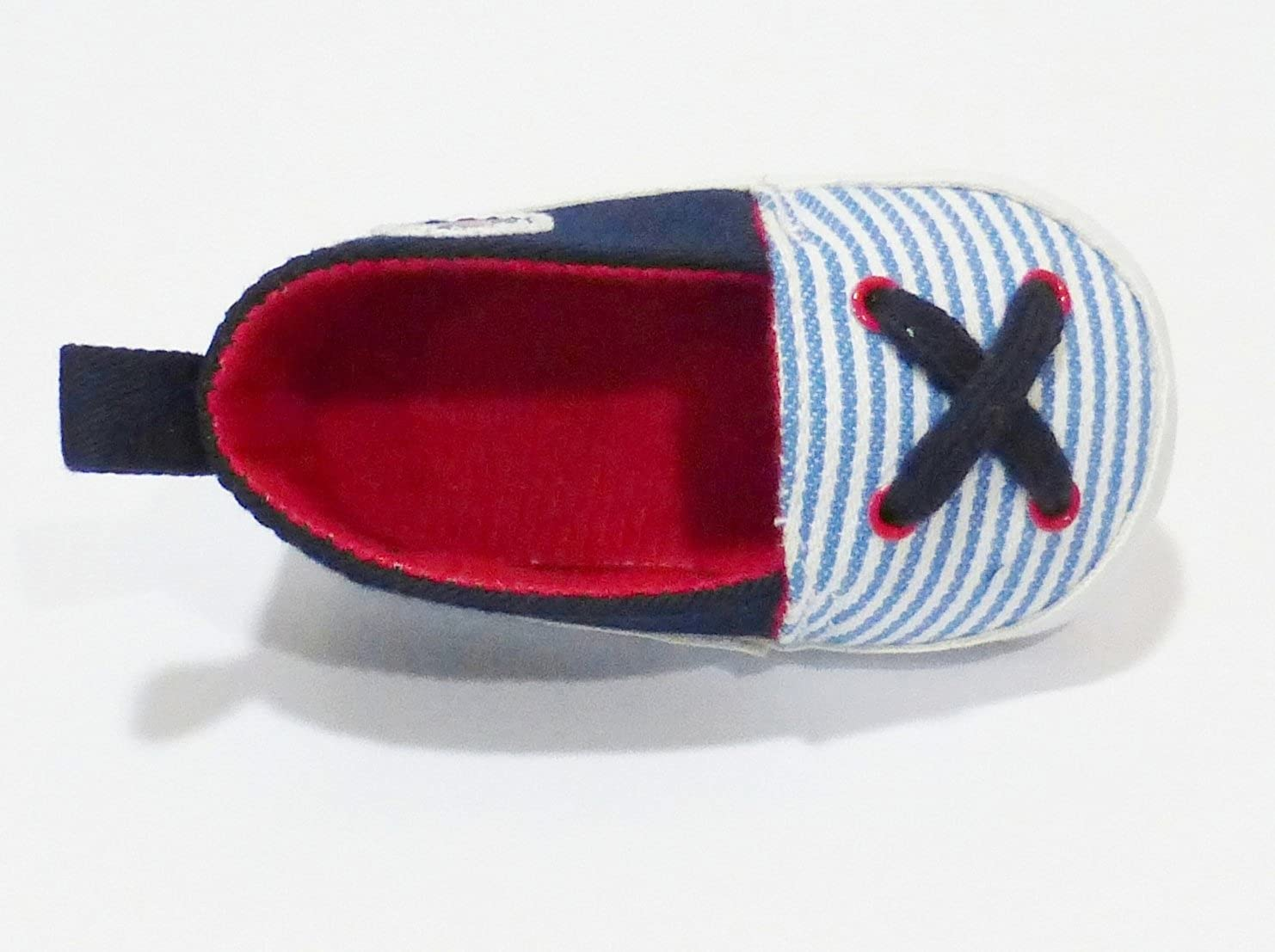 3.75 Insole Cotton Twill Slip on Shoes with Blue Stripes 3-6 Months