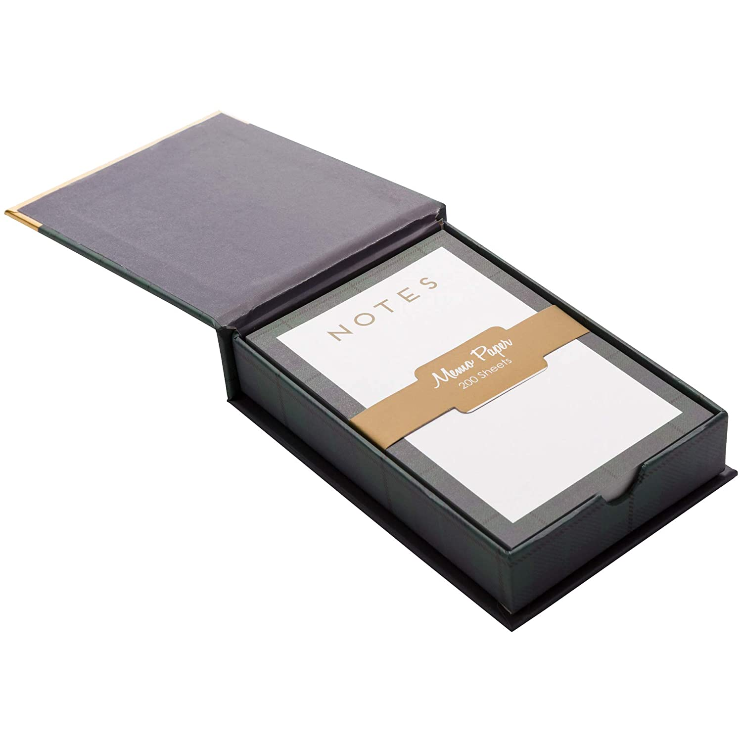 C.R Gibson Navy Plaid and Golden Arrow Desk Accessory Magnetic Memo Box Stationery Set 3.5 x 5.5 200 sheets
