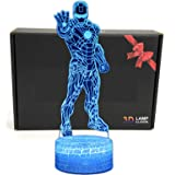 LED Superhero 3D Optical Illusion Smart 7 Colors Night Light Table Lamp with USB Power Cable (Iron Man)
