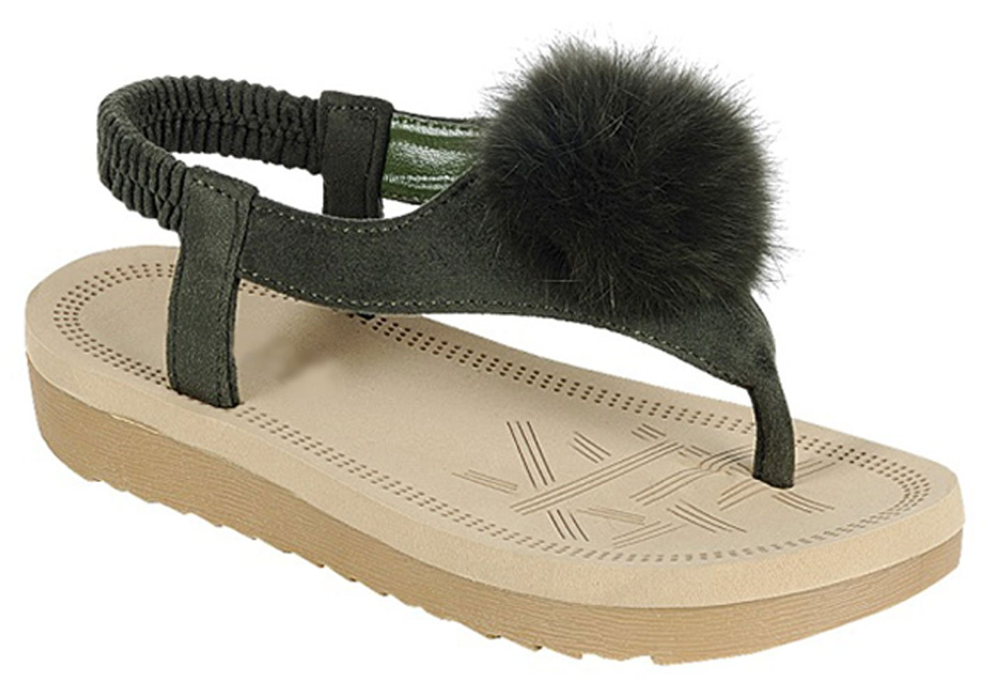 Top Selling Olive Slingback Fur Tassel Pom Pom Vegan Suede Leather Fuzzy Tstrap Flat Easy Slip On Wedge Ver Zapatos De Mujer Cool Comfortable House Thong Sandal Sale Women Ladies (Size 5.5, Olive)