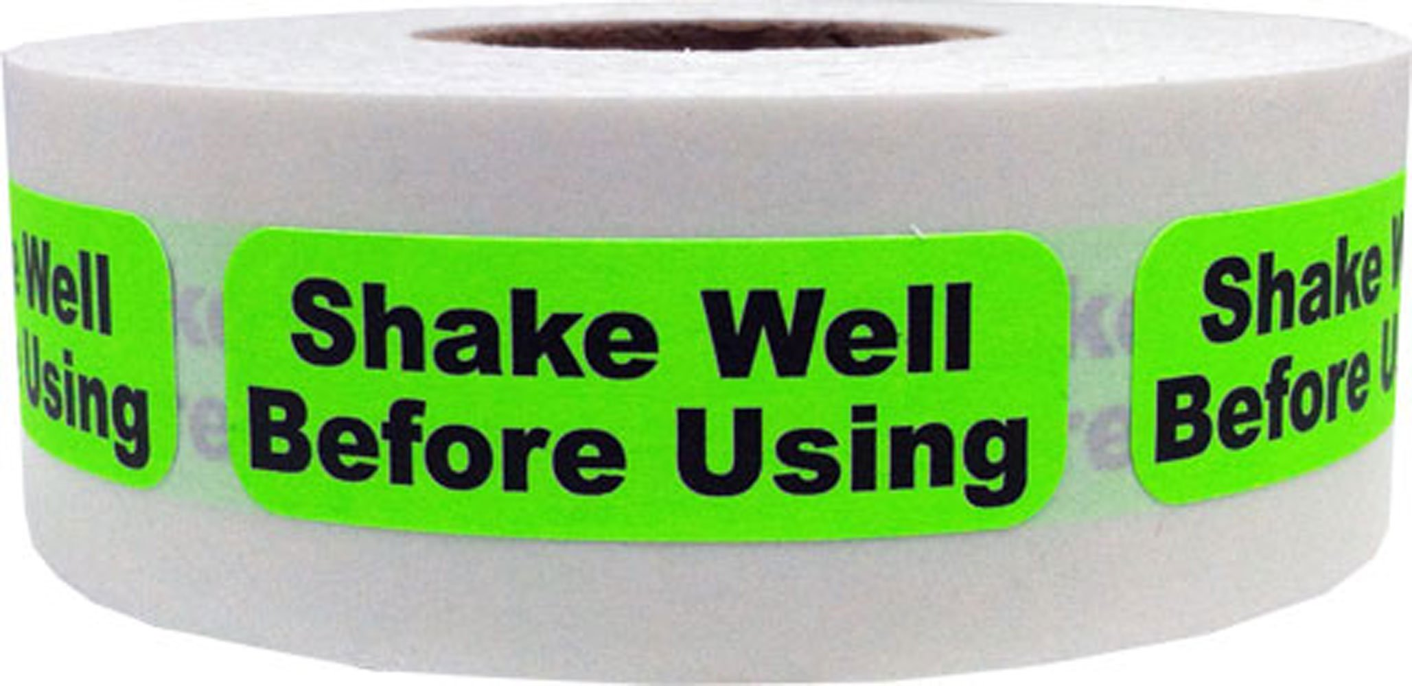 Fluorescent Green with Black Shake Well Before Using Stickers, 0.5 x 1.5 Inches in Size, 500 Labels on a Roll