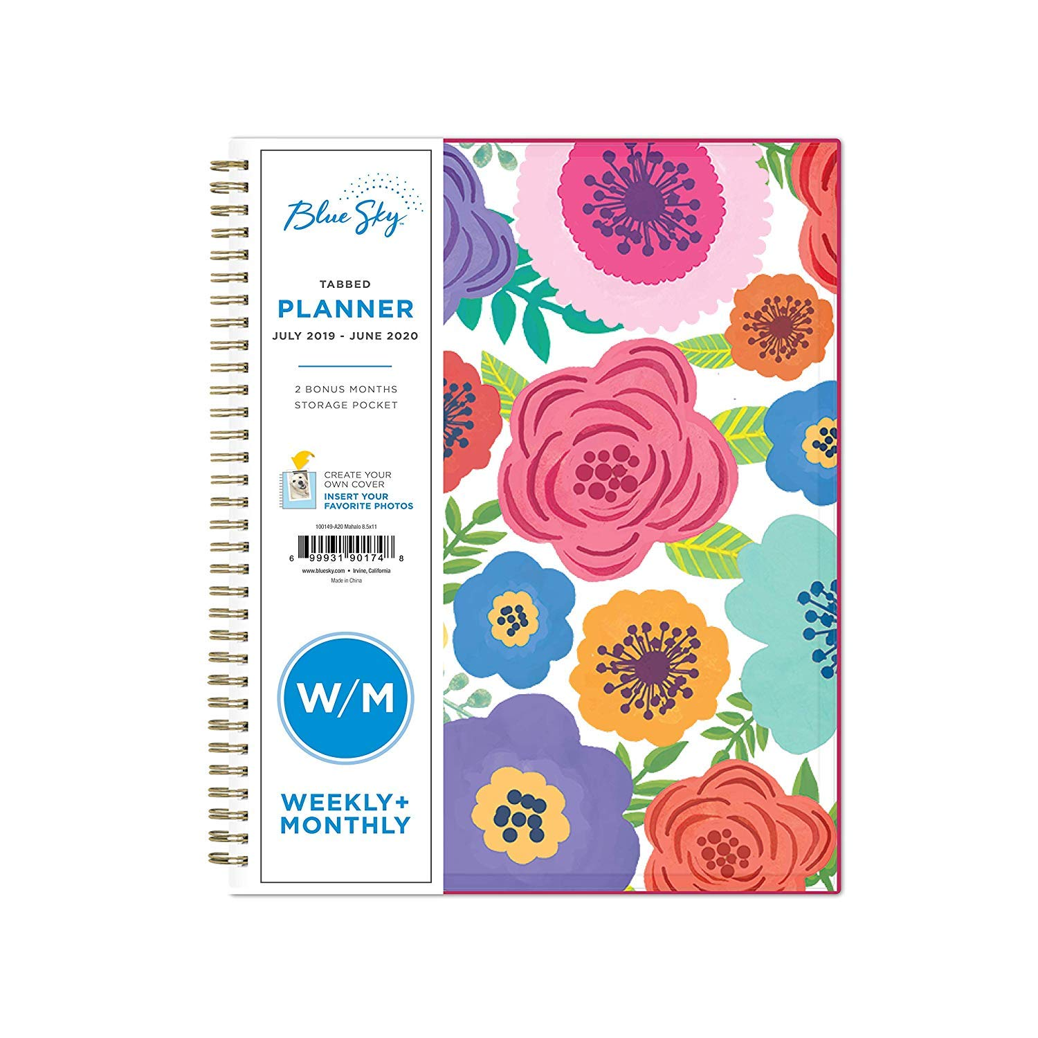 Blue Sky 2019-2020 Academic Year Weekly & Monthly Planner, Flexible Cover, Twin-Wire Binding, 8.5'' x 11'', Mahalo
