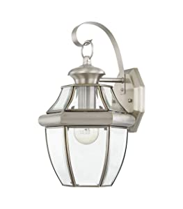 Livex Lighting 2151-91 Monterey 1 Light Outdoor Brushed Nickel Finish Solid Brass Wall Lanternwith Clear Beveled Glass