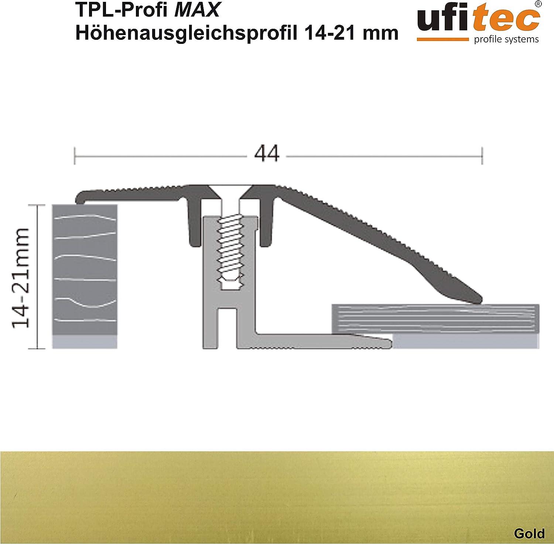 geeignet f/ür Belagsh/öhen von 14-21 mm H/öhenausgleichsprofil | L/änge: 90 cm, Bronze Hell ALU eloxiert ufitec/® TPL Profi MAX Profilsystem f/ür Parkettb/öden